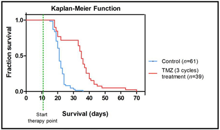 Figura U25 (2): Kaplan-Meier survival curve with temozolomide (TMZ) treated and control mice, showing clear difference, statistically significant, between groups.